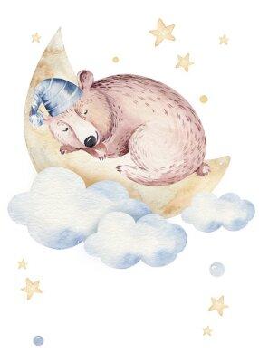 Plakat Cute dreaming cartoon animal hand drawn watercolor illustration. Sleeping charecher kids nursery wear fashion design, baby shower invitation card.