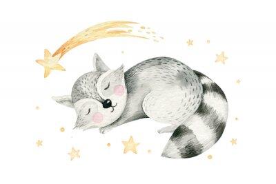 Plakat Cute dreaming cartoon cartoon animal hand drawn watercolor illustration. Sleeping charecher kids nursery wear fashion design, baby shower invitation card.