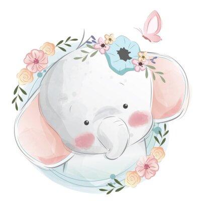 Plakat Cute Elephant Portrait