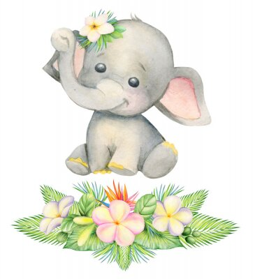 Plakat cute elephant, sitting . Children's painting, watercolor, tropical plants and flowers.