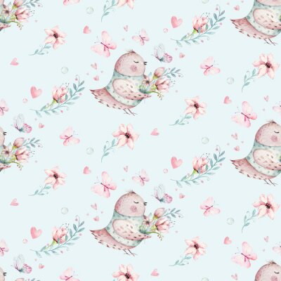Plakat Cute Fairy character watercolor illustration on white background. Magic fantasy cartoon pink fairytale design. Baby girl birthday