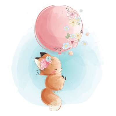 Plakat Cute Fox Flying with Flowery Balloon