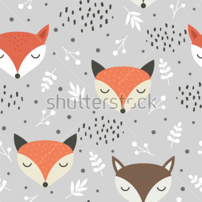 Plakat Cute fox seamless pattern, wolf hand drawn forest background with flowers and dots, vector illustration