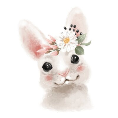Plakat Cute hand drawn bear in floral wreath, flowers bouquet, woodland watercolor animal portrait