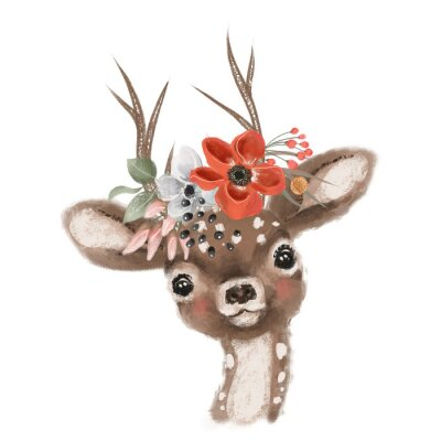 Plakat Cute hand drawn deer, fawn in floral wreath, flowers bouquet, woodland watercolor animal portrait