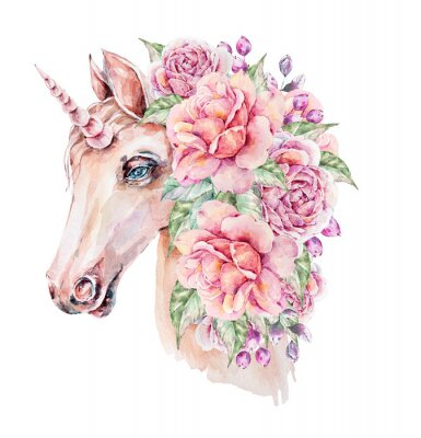 Plakat Cute hand painted watercolor unicorn illustration. Lovely horse in floral wreath. Perfect for logo, wedding or greeting cards, print, pattern
