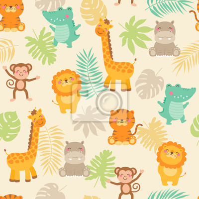 Plakat Cute jungle animals with leaf seamless pattern background