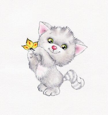 Plakat Cute Kitt z motylem