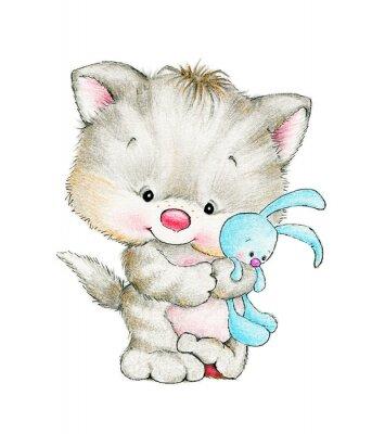 Plakat Cute kitten with baby bunny