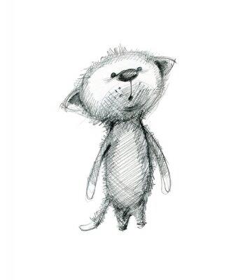 Plakat Cute kitten zaskoczony. Ręcznie rysunek szkic na białym tle.