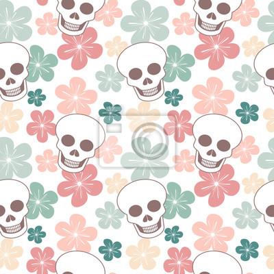 Cute kolorowe bezszwowe tło wektor ilustracja czaszki z czaszkami i kwiatami