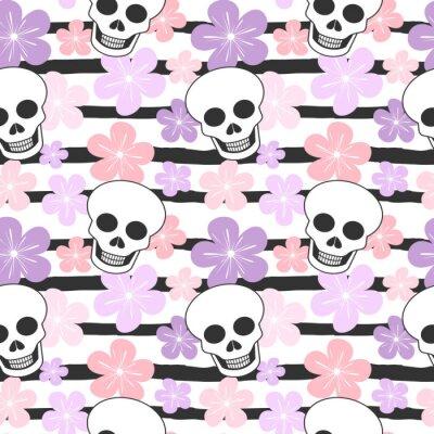 cute kolorowe paski bez szwu wektora tle deseń ilustracji z czaszki i kwiaty