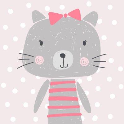 Plakat cute kreskówki kot, kotek, łuk, wektor