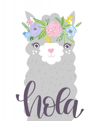 Plakat Cute Lama face. Childish print for fabric, t-shirt, poster, card, baby shower.  Illustrtion