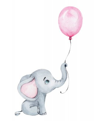 Plakat Cute little elephant with pink balloon; watercolor hand draw illustration; with white isolated background