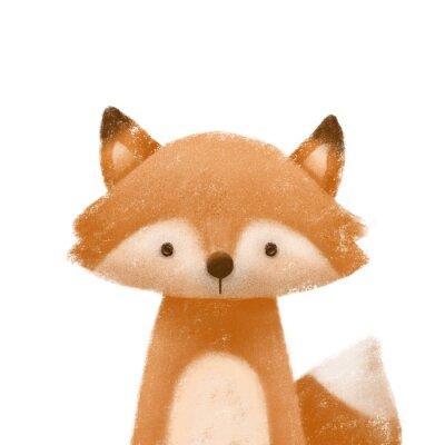 Plakat Cute little fox. Kids print or poster. Hand drawn illustration.