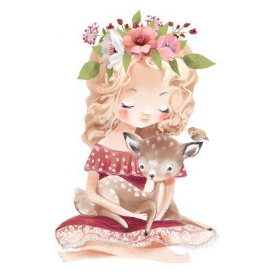 Plakat Cute little girl with a deer, bird and flowers. Best friends watercolor illustration