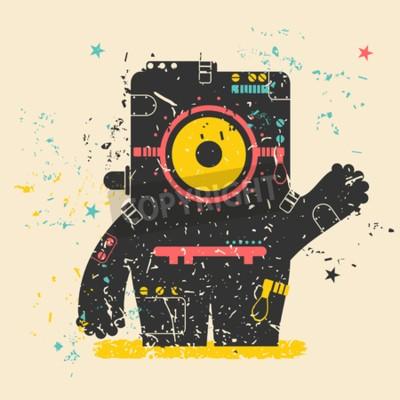 Plakat Cute monster retro grunge