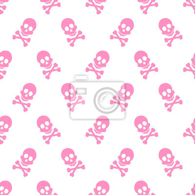 Plakat cute pink skeleton pattern
