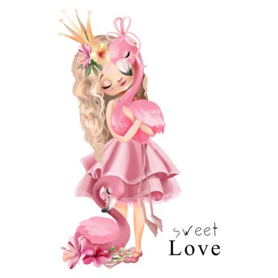 Plakat Cute princess girl in the pink dress and gold crown with flamingo and flowers