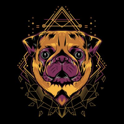 Plakat Cute Pug Dog Vector Crystal Geometry Illustration in Black Background