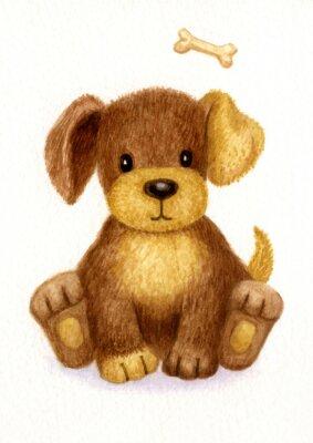 Plakat Cute puppy, akwarela.