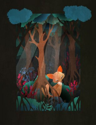 Plakat Cute red fox sitting in the forest fairytale illustration, greeting card or poster design