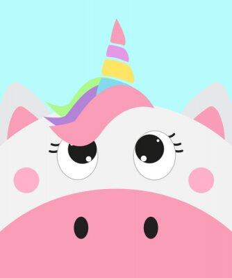 Plakat cute unicorn face, vector illustration