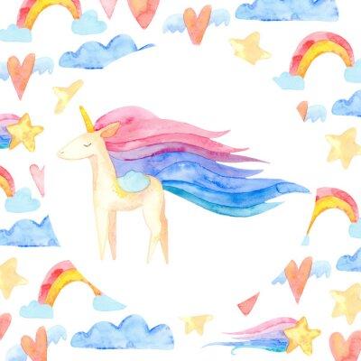 Plakat Cute unicorn horse. Fairytale children sweet dream. Rainbow animal horn character. Frame border ornament square. Aquarelle wild animal,  rainbow, heart, stars, clouds