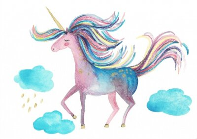 Plakat Cute unicorn on a white background for design