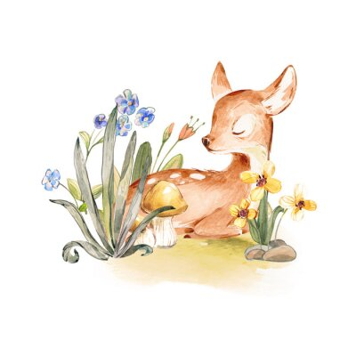 Plakat Cute Watercolor Baby Deer with the blue ribbon surrounded by wild flowers and mushrooms over white. Baby Deer sleeping in the forest. Isolated. Nursery print for baby girl oa boy.