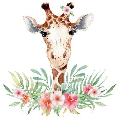 Plakat Cute watercolor geraffe with tropical flowers card