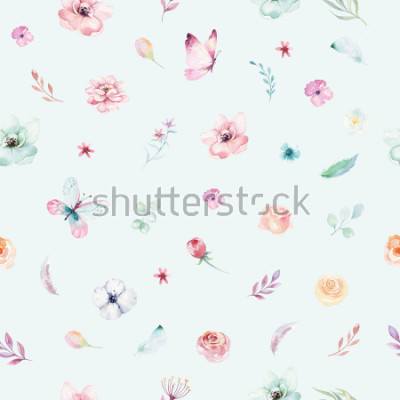 Plakat Cute watercolor unicorn seamless pattern with flowers. Nursery magical unicorn patterns. Princess rainbow texture. Trendy pink cartoon pony horse.