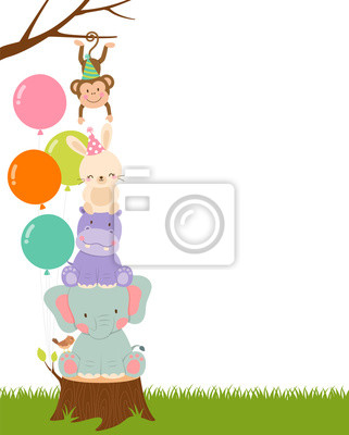 Plakat Cute wildlife cartoon animals with copy space for party invitation card template