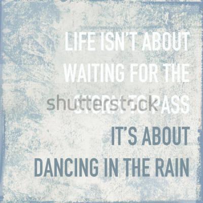 Plakat cytat motywacyjny plakat życie polega na tańcu w deszczu