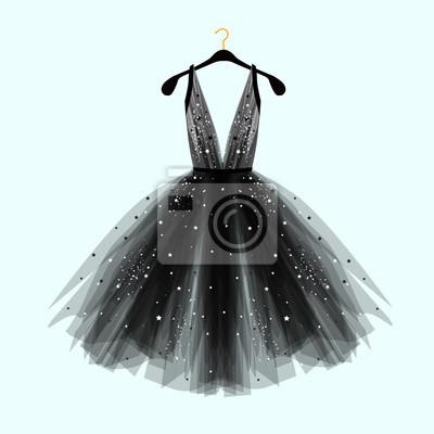 Plakat Czarna fantazyjna sukienka na specjalne okazje z dekoracją. Wektorowa mody ilustracja dla online sklepu