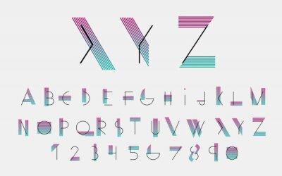 Plakat Czarne alfabetu czcionki i numery z linii kolorystycznych. ilustracji wektorowych.