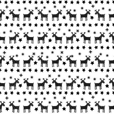 Plakat Czarno-białe Boże Narodzenie bez szwu retro wzór - zróżnicowane Xmas renifery, gwiazd i płatki śniegu. Szczęśliwego Nowego Roku w tle. Wektora projektu na zimowe wakacje na białym tle.