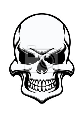 Czarno-biały dziwny ludzką czaszkę