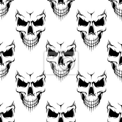 Plakat Czarny czaszki bez szwu deseń niebezpieczeństwo