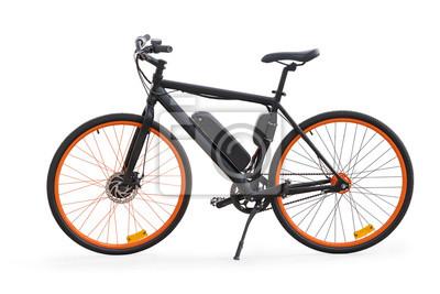 Plakat Czarny elektryczny rower odizolowywający z ścinek ścieżką