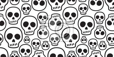 Plakat czaszka bez szwu deseń wektor Halloween Crossbones kości duch trucizna dachówka tło szalik na białym tle powtarzać tapeta ilustracja