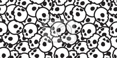 Czaszka bez szwu Halloween wektor wzór Duch głowy kości szalik na białym tle tło tapeta powtórzyć