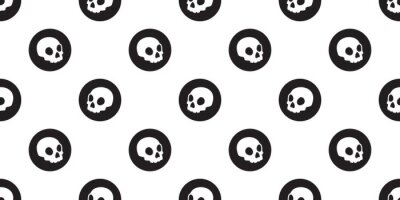 Czaszka bez szwu Halloween wektor wzór kości Ghost head scarf isolated tile background repeat wallpaper illustration