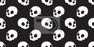 Czaszka bezszwowa deseniowa Halloweenowa wektorowa kość ducha głowy tła odosobniona dachówkowa tapetowa ilustracja