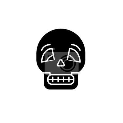 Czaszka czarna ikona, koncepcja wektor znak na na białym tle. Ilustracja czaszki, symbol