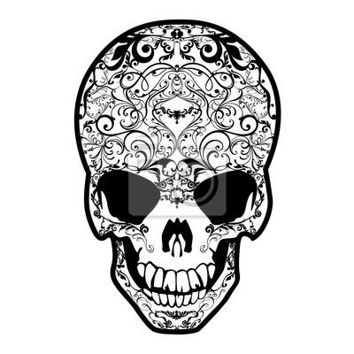 Czaszka czarno-biała. Grafika wektorowa bogato zdobione czaszki.