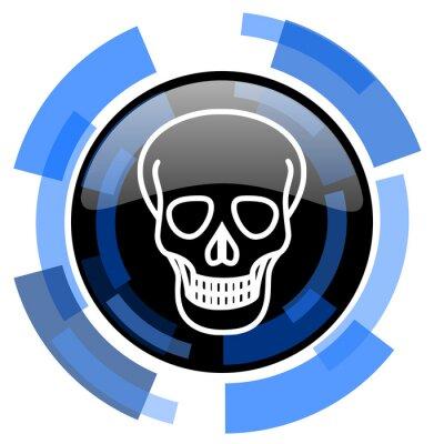 Czaszka czarny błyszczący ikona internetowych
