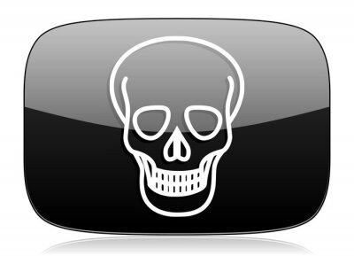 Czaszka czarny błyszczący ikona internetowych Nowoczesny