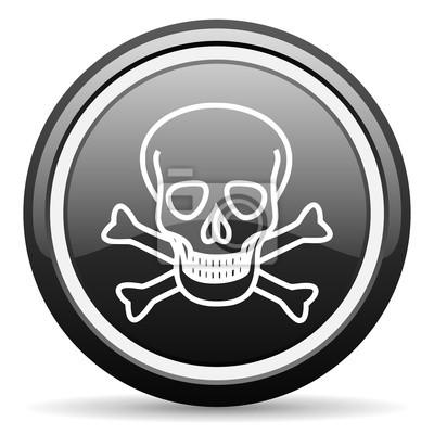 czaszka czarny błyszczący ikonę na białym tle